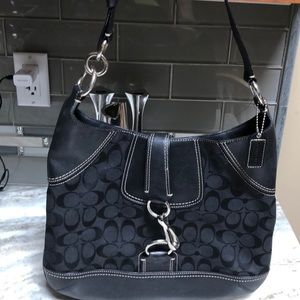 Coach black canvas & leather logo C hobo bag strap